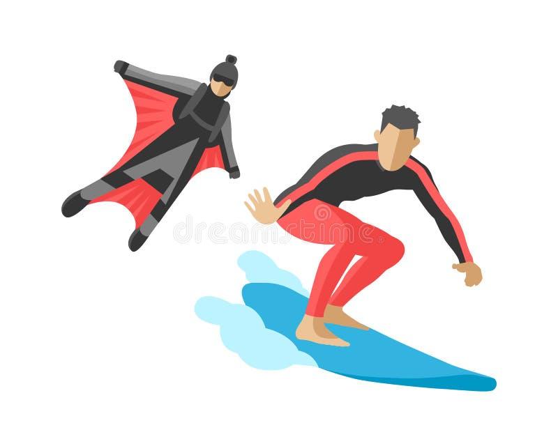 Сноуборд вектора скача flyboard весьма wakeboard skydiver скорости жизни иллюстрации силуэтов спортсменов установленного занимаяс иллюстрация штока