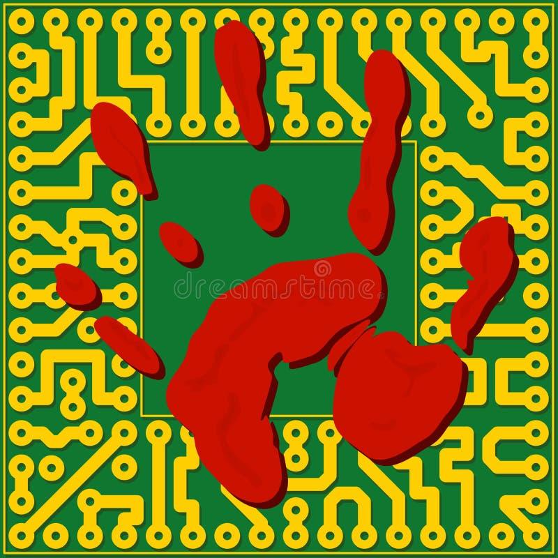 Снятие отпечатков пальцев компьютерной технологии - illust вектора бесплатная иллюстрация
