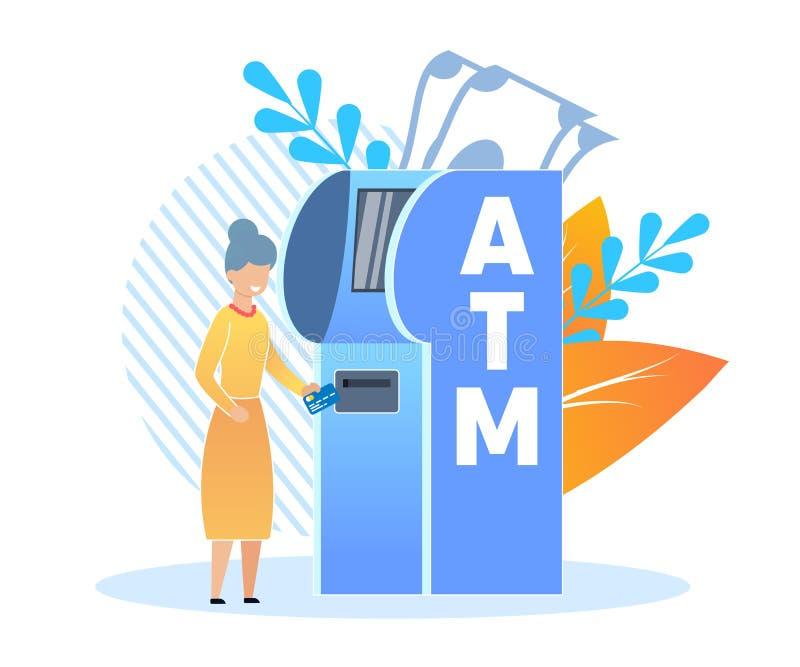 Снятия наличных на мультфильме банка терминальном плоско иллюстрация штока