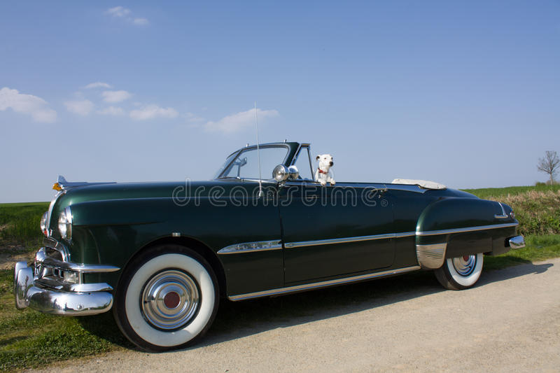 собака автомобиля ретро стоковое изображение
