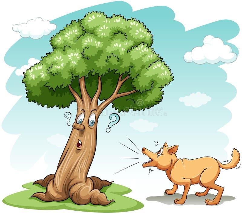 Собака лаяя дерево иллюстрация штока
