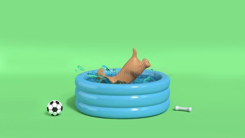 Собака Брауна скача в предпосылку 3d выплеска воды бассейна зеленую дл иллюстрация штока
