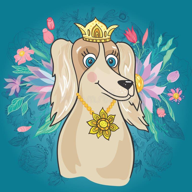 Собака вектора королевская с букетом цветка иллюстрация штока