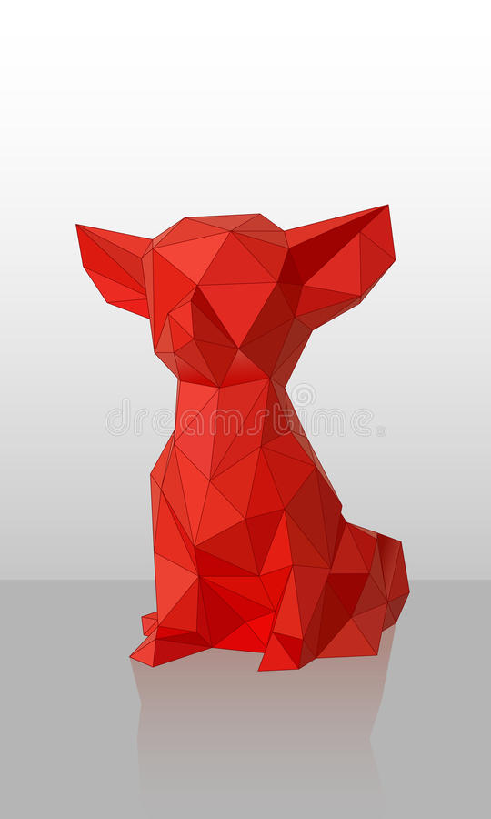 Собака вектора красная Низко-поли стоковые фото