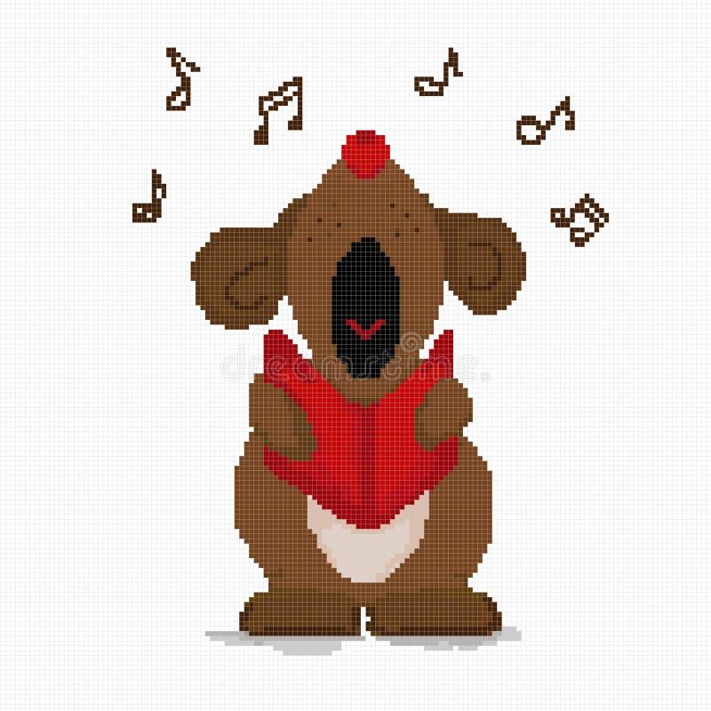 Собака вышивки крестиком громко поет музыкальное приветствие Клетка r иллюстрация вектора