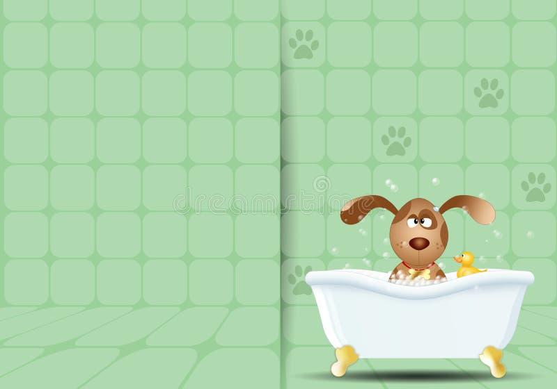 Собака в ванне для холить иллюстрация штока