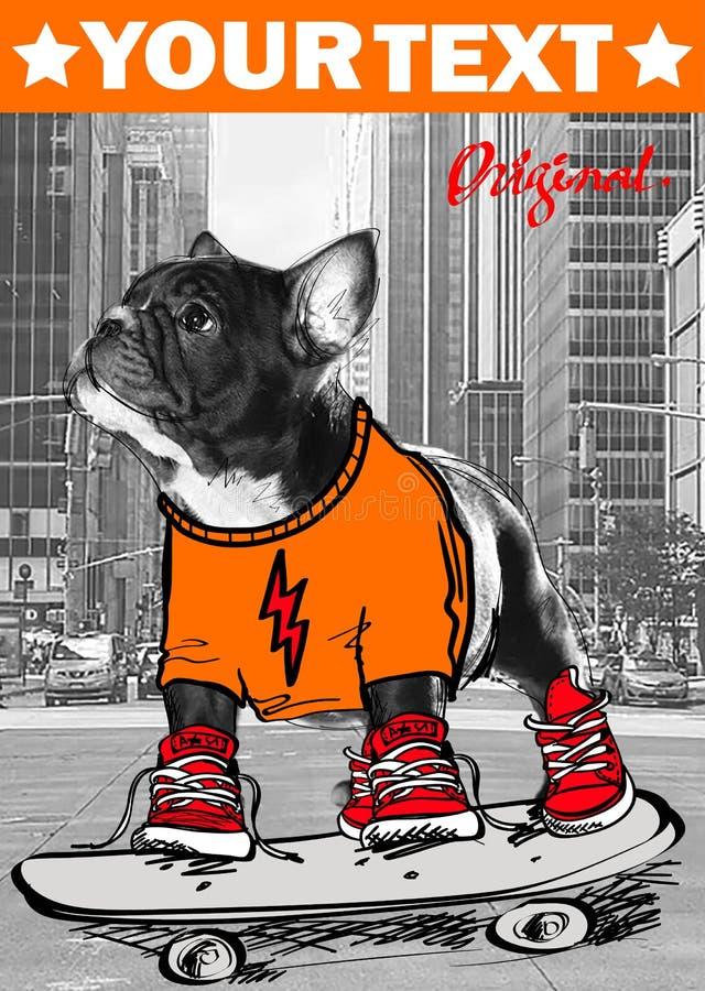 Собака в печати изолированной городом стоковая фотография