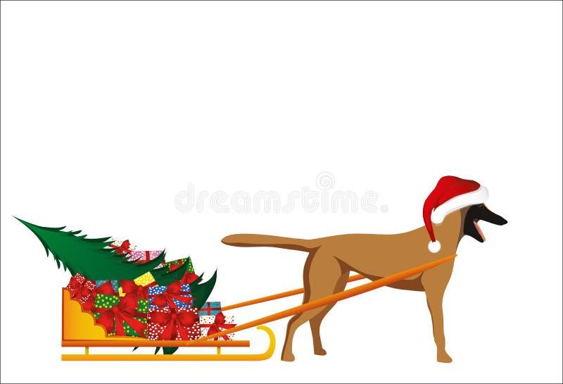 Собака в шляпе Санта Клауса носит сани с подарками иллюстрация штока
