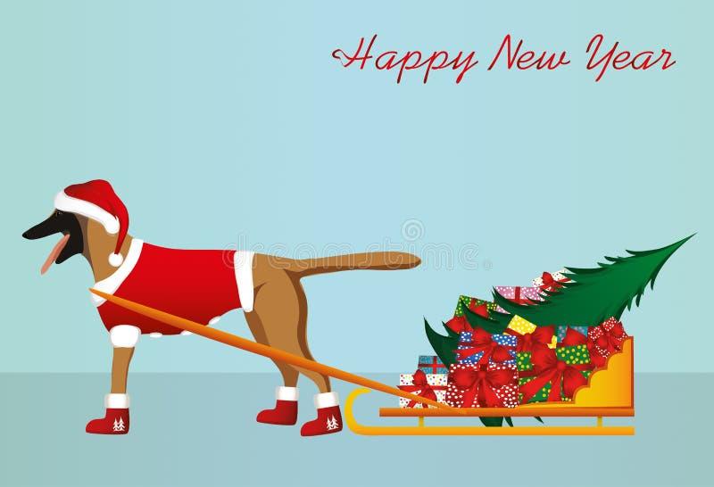 Собака в шляпе Санта Клауса носит сани с подарками бесплатная иллюстрация