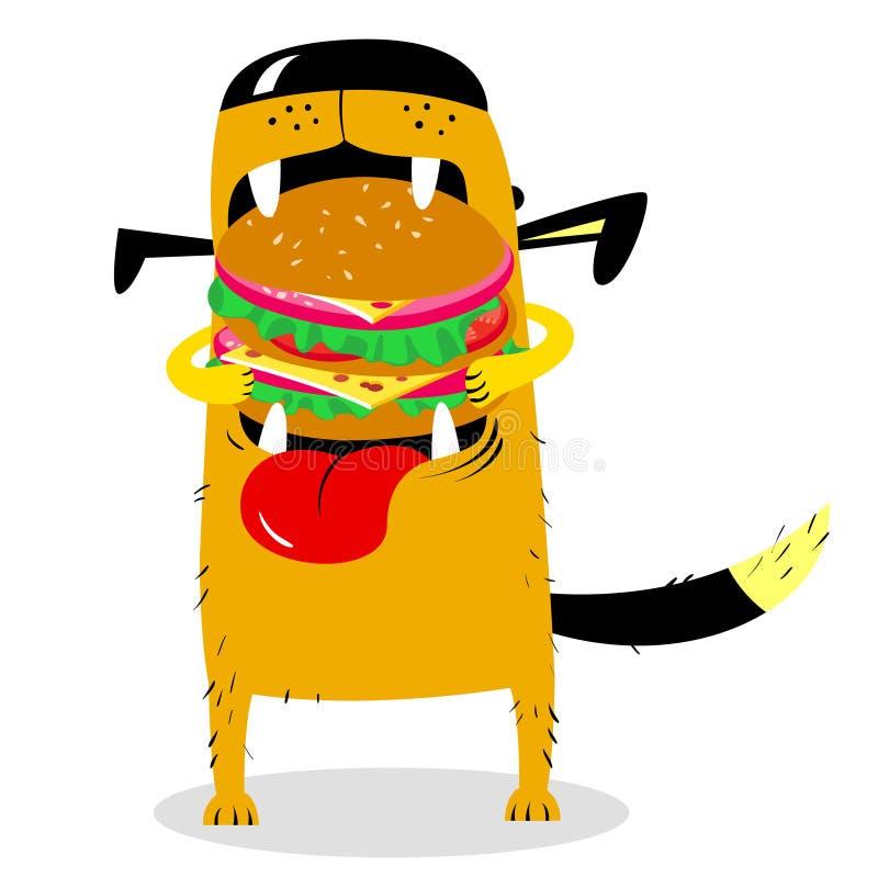 Собака есть большой гамбургер Голодный милый любимчик Illust вектора шаржа иллюстрация вектора