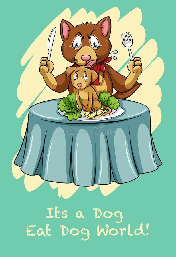 Собака ест мир собаки иллюстрация вектора