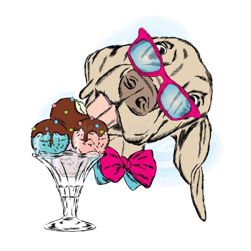 Собака ест мороженое Милый щенок с десертом иллюстрация вектора