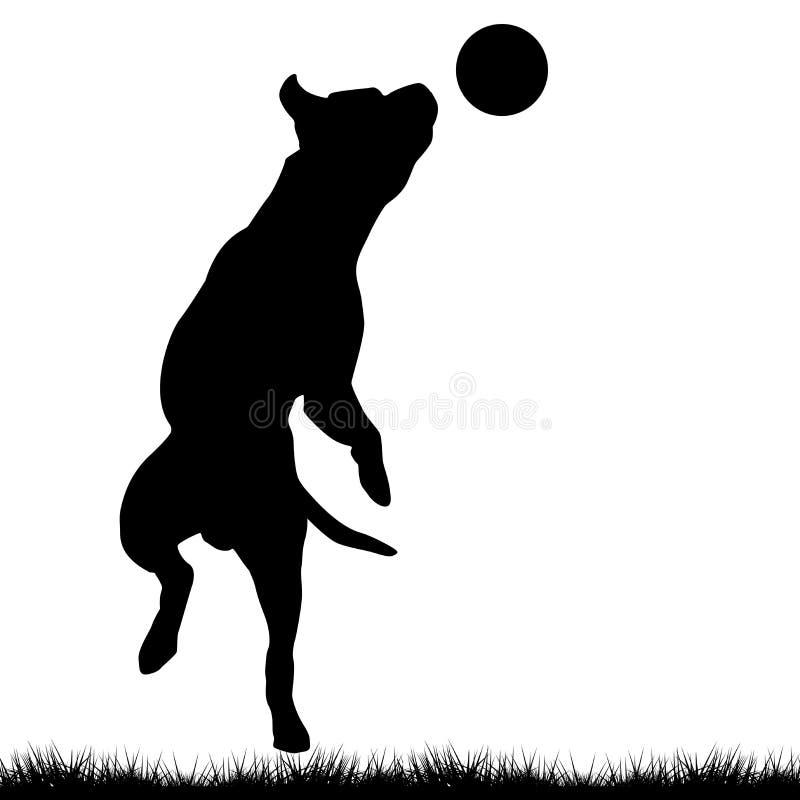 Собака играя с шариком бесплатная иллюстрация