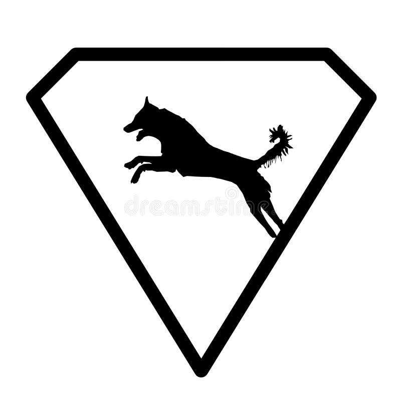 Собака изображения знамени логотипа скача в форме диаманта на белой предпосылке иллюстрация штока