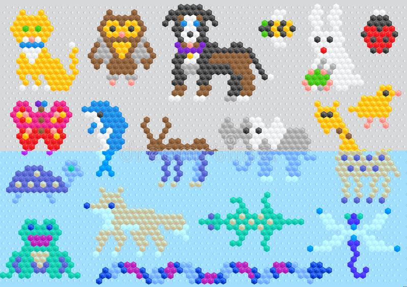 Собака и дельфин кота характера животного вектора мозаики animalistic абстрактные в комплекте иллюстрации игры детей ребяческом и иллюстрация штока