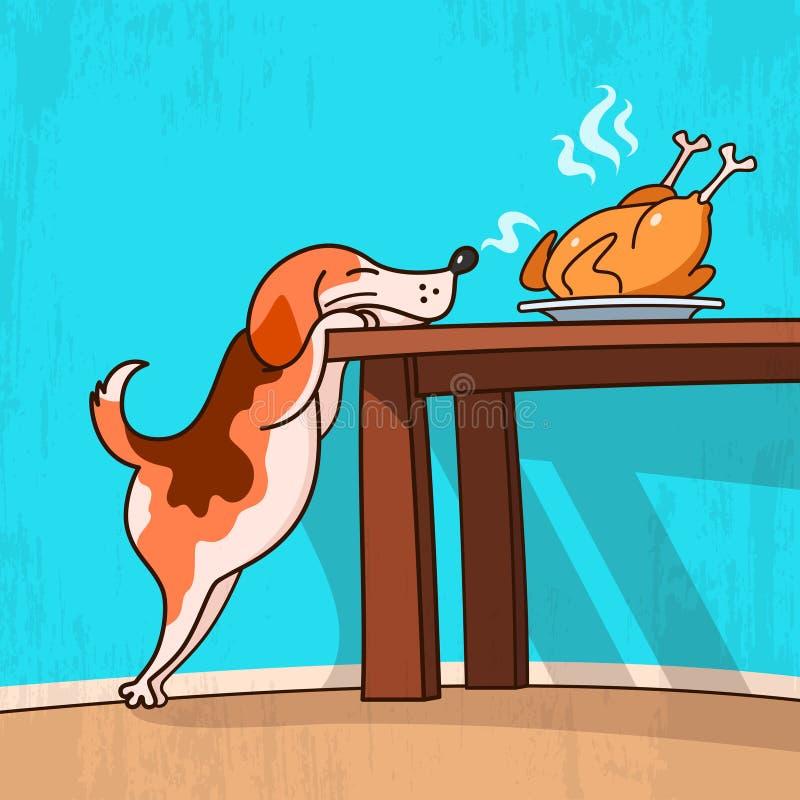 Собака и жареная курица иллюстрация вектора