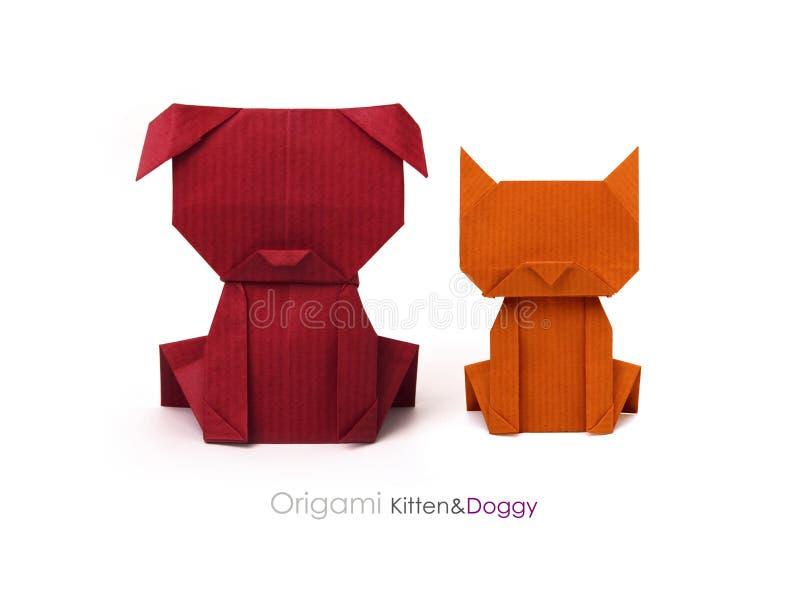 Собака и кошка друзей Origami стоковые фотографии rf