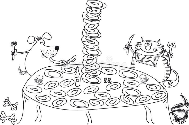 Собака и кошка сидит на таблице, ест, много плит иллюстрация штока