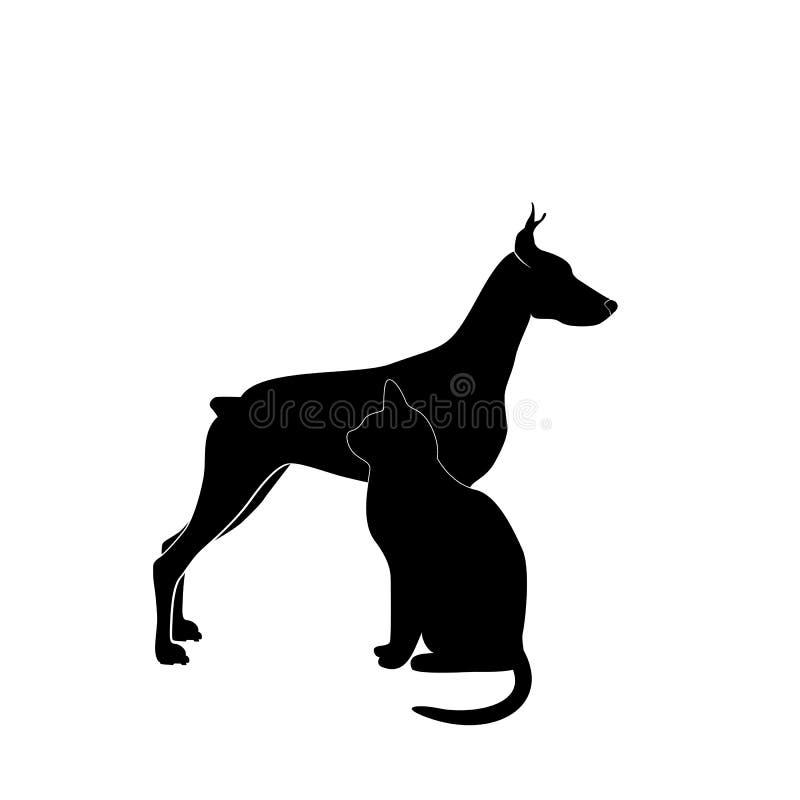Собака и кошка иллюстрация вектора