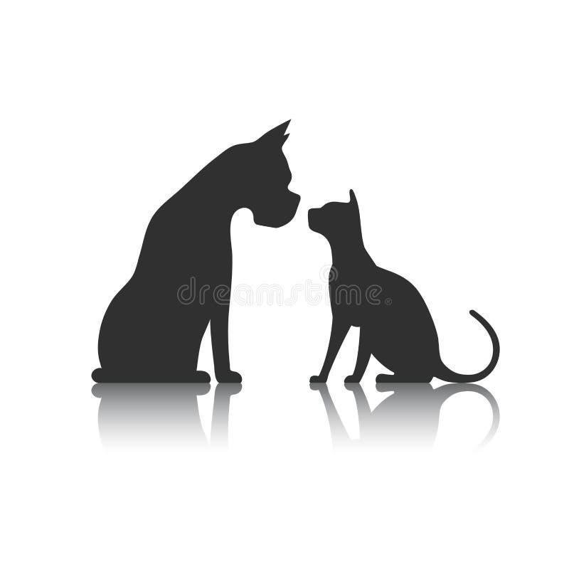 Собака и кошка silhouette иллюстрация штока