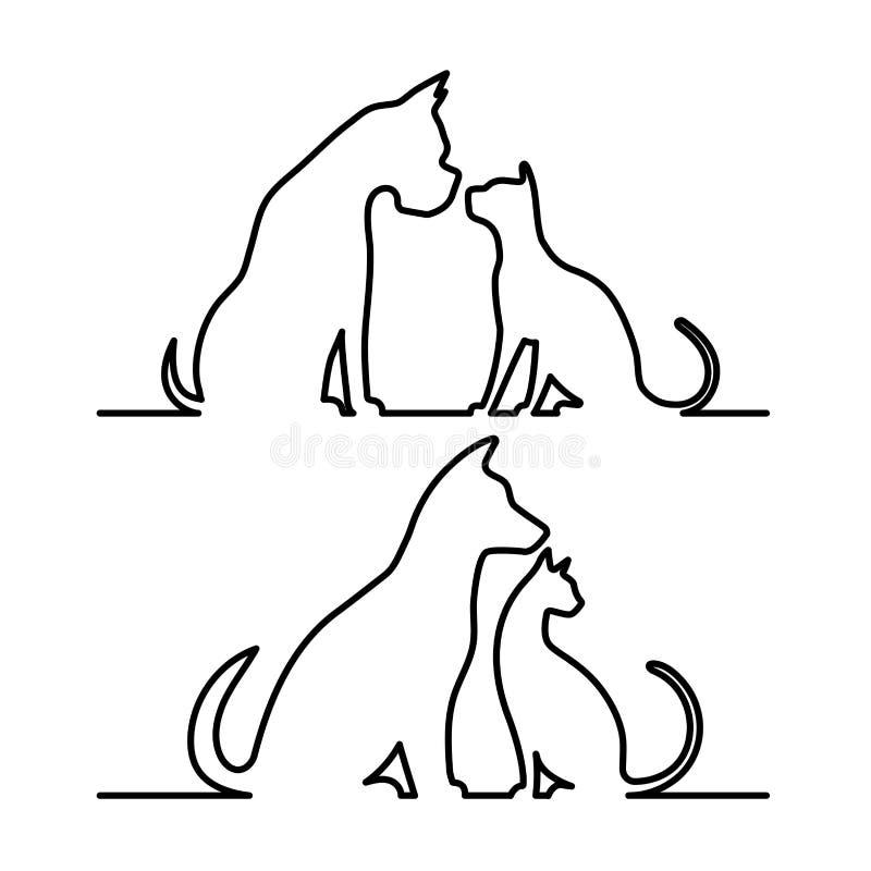 Собака и кошка silhouette иллюстрация вектора