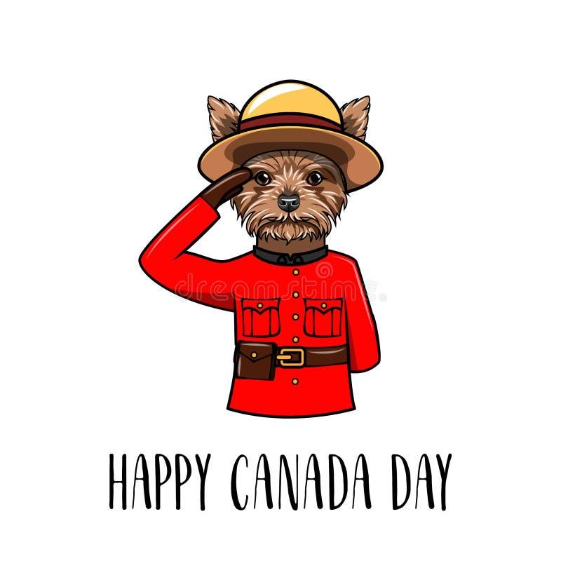 Собака йоркширского терьера Счастливая поздравительная открытка дня Канады Выследите носить в форме королевской канадской конной  иллюстрация вектора