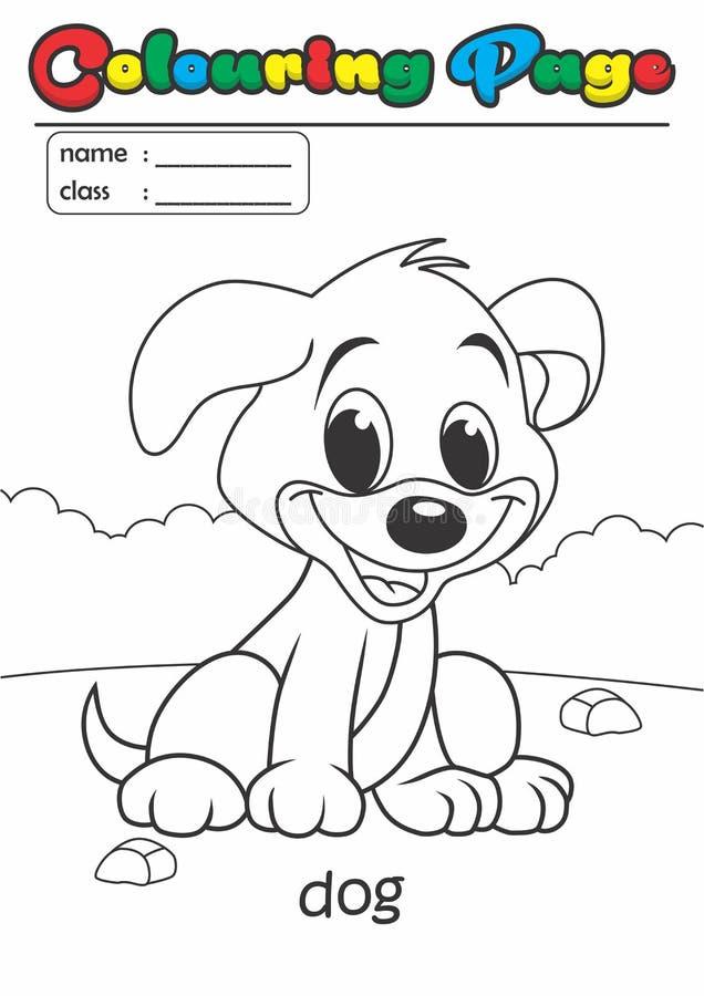 Собака книги расцветки страницы расцветки Соответствующее ранга легкое для детей иллюстрация вектора