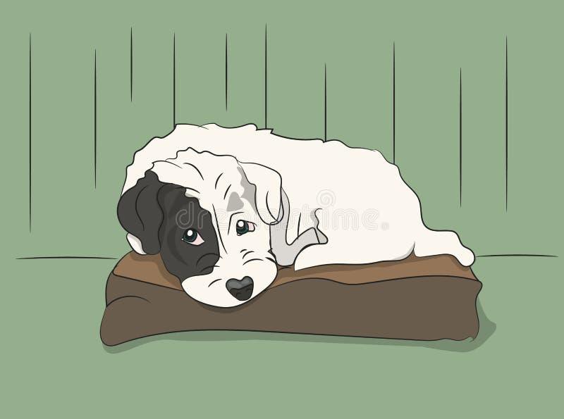 Собака лежит на подушке, векторе, иллюстрация штока