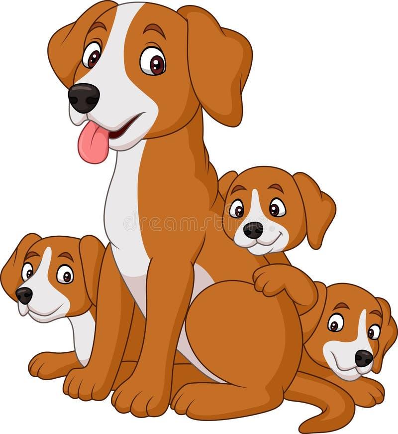 Собака матери шаржа с ее милыми щенятами иллюстрация вектора