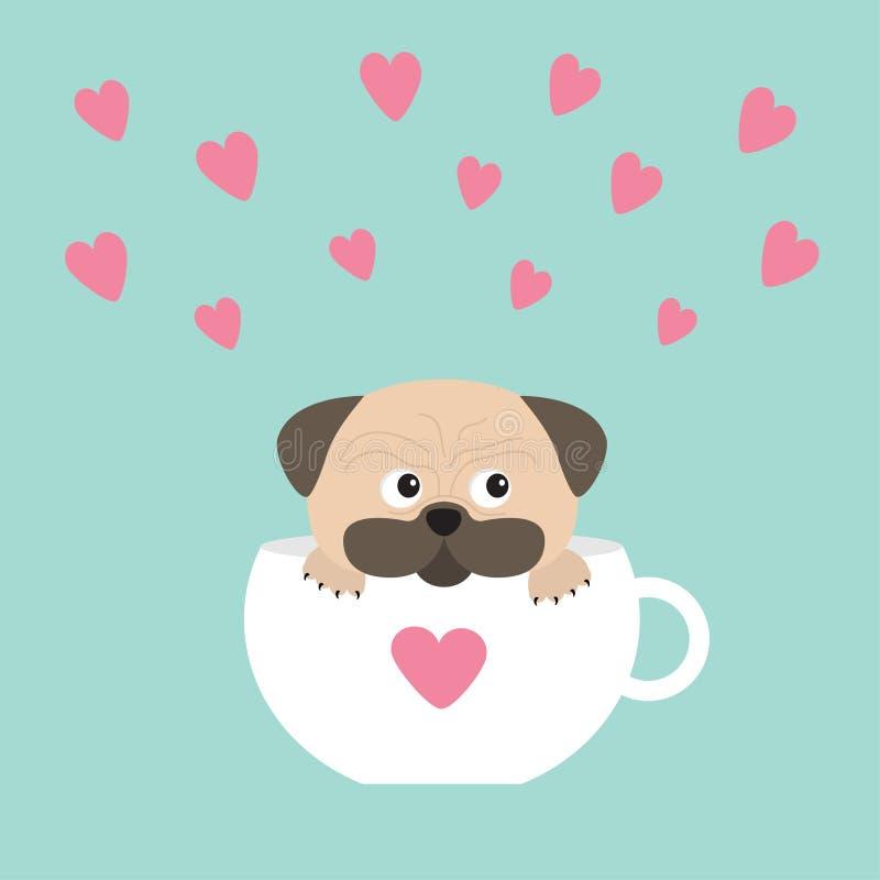 Собака мопса mops лапка сидя в белой чашке с сердцем Милый персонаж из мультфильма Плоский дизайн background card congratulation  иллюстрация штока
