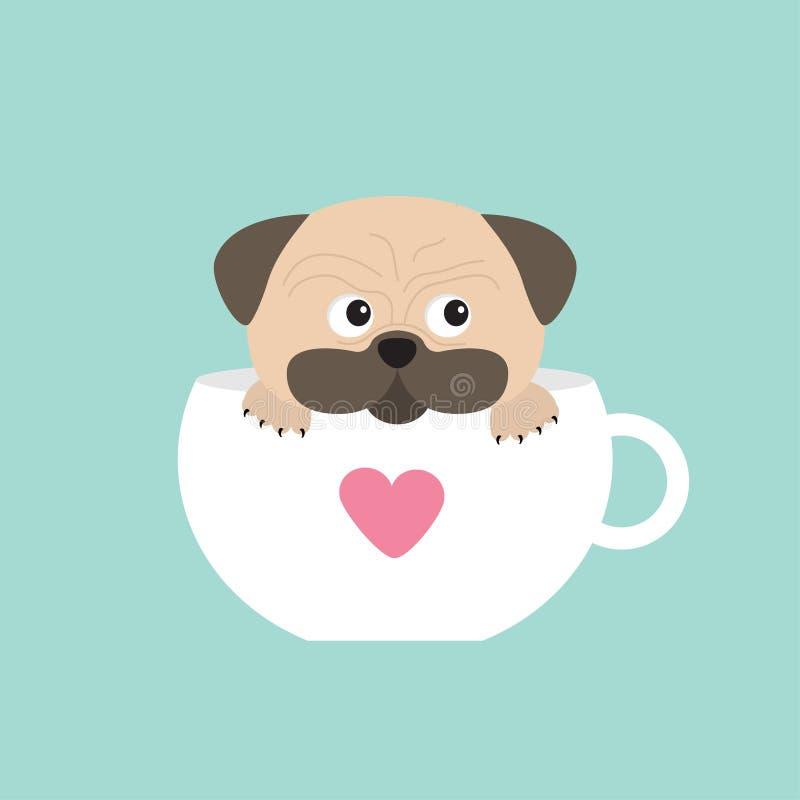 Собака мопса mops лапка сидя в большой чашке с сердцем Милый персонаж из мультфильма Плоский дизайн background card congratulatio бесплатная иллюстрация