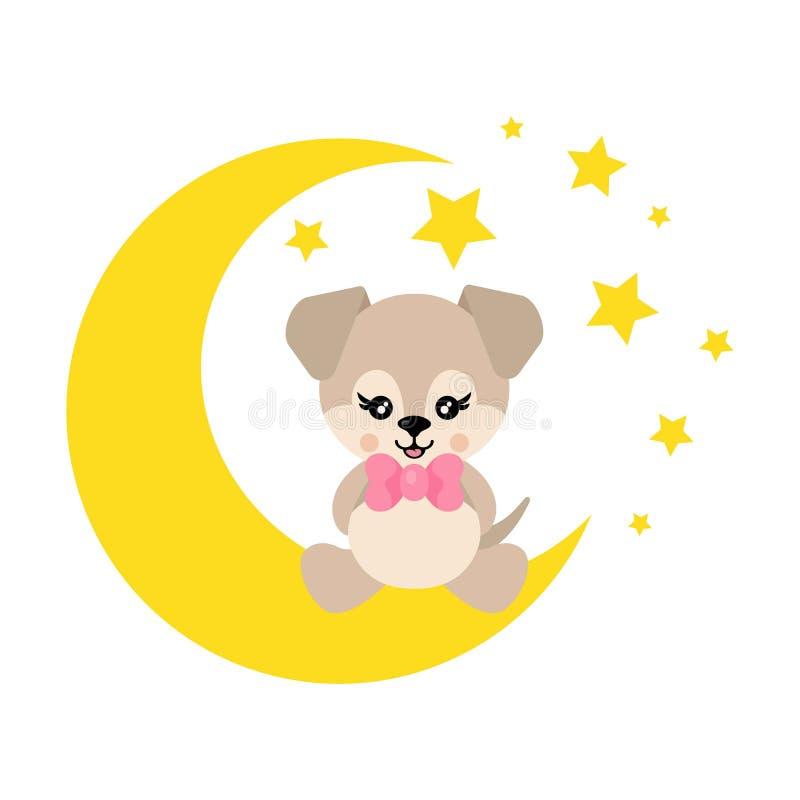 Собака мультфильма милая со связью сидит на векторе луны иллюстрация штока