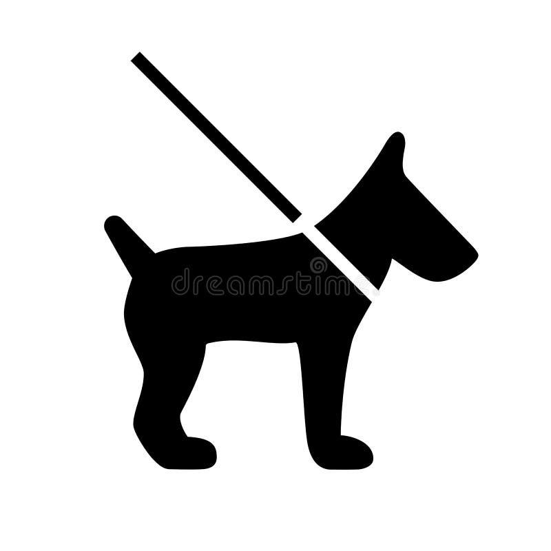 Собака на значке вектора поводка бесплатная иллюстрация