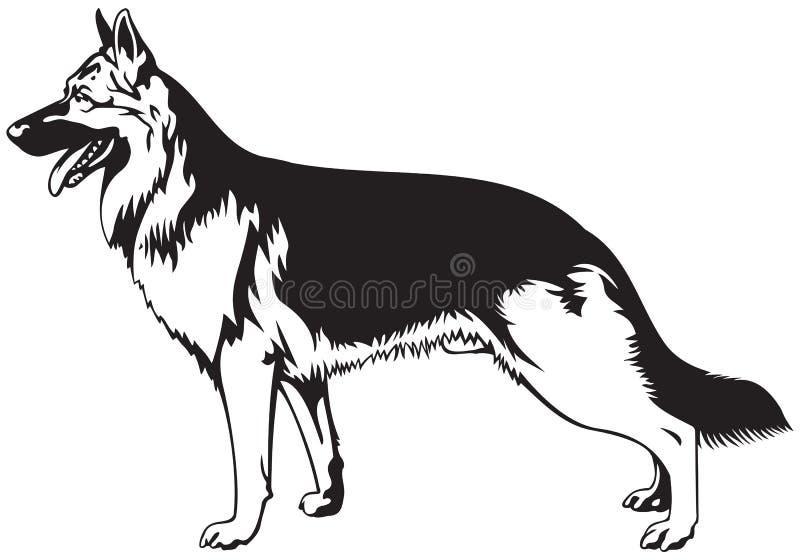 Собака немецкой овчарки иллюстрация вектора
