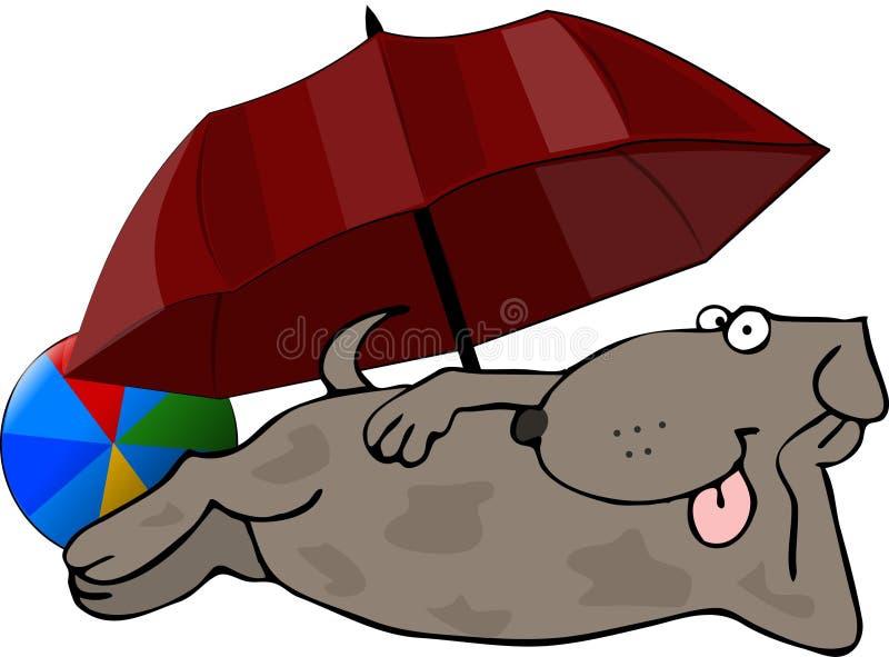 собака пляжа иллюстрация вектора
