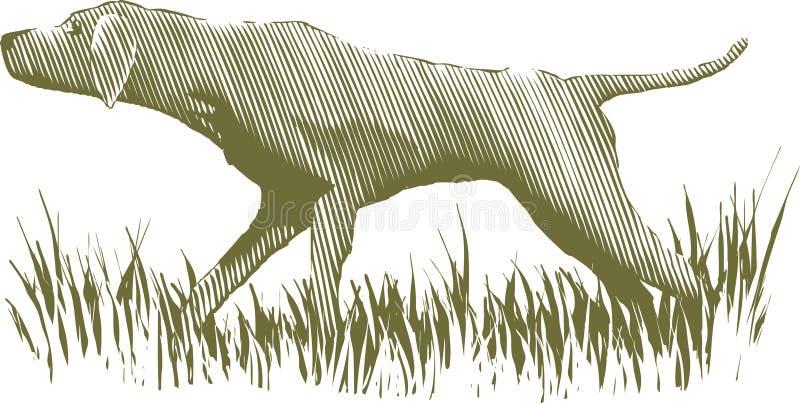 Собака птицы Woodcut иллюстрация вектора