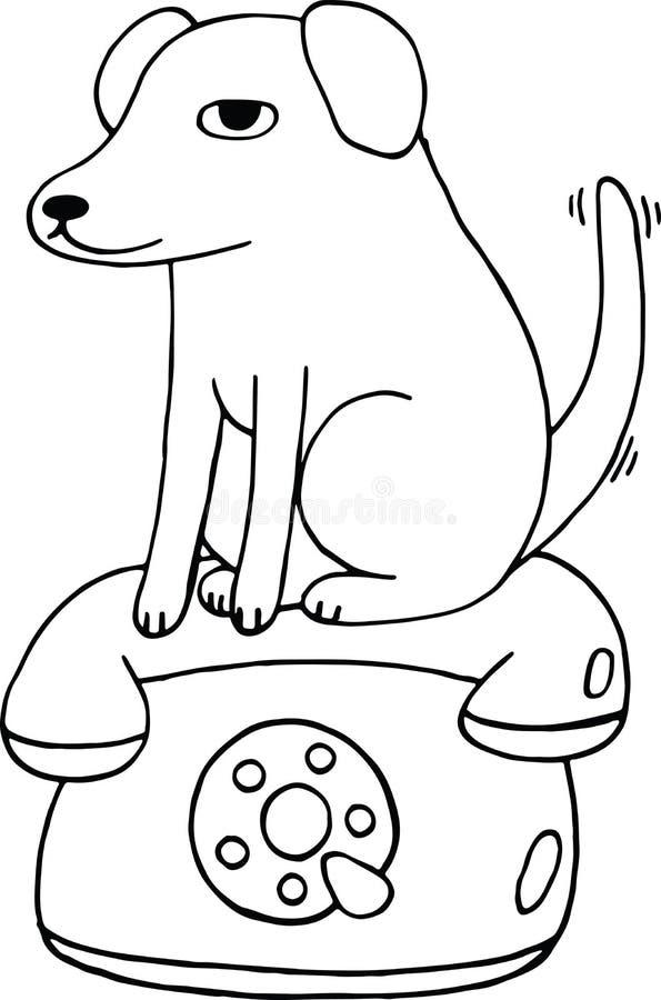 Собака сидит на телефоне Страница расцветки для детей anf взрослых бесплатная иллюстрация