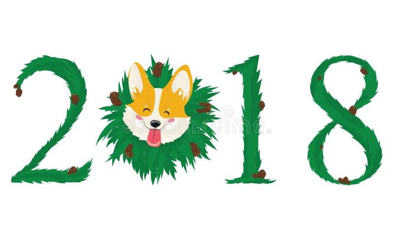 Собака символ 2018 год на китайском календаре также вектор иллюстрации притяжки corel белизна изолированная предпосылкой бесплатная иллюстрация