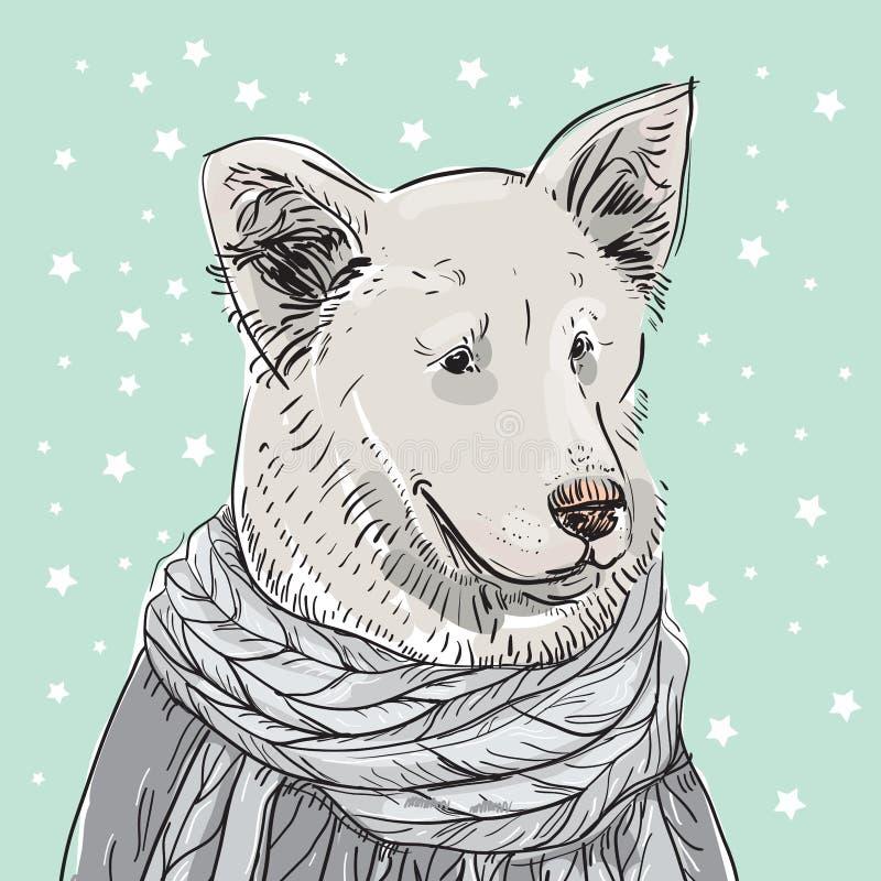 Собака скандинавского стиля дизайна карты Нового Года веселого рождества белая в сером связанном свитере чабан Чертеж эскиза Черн иллюстрация вектора