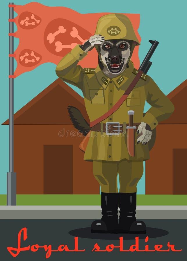 Собака собаки солдата восточная и флаг иллюстрация вектора