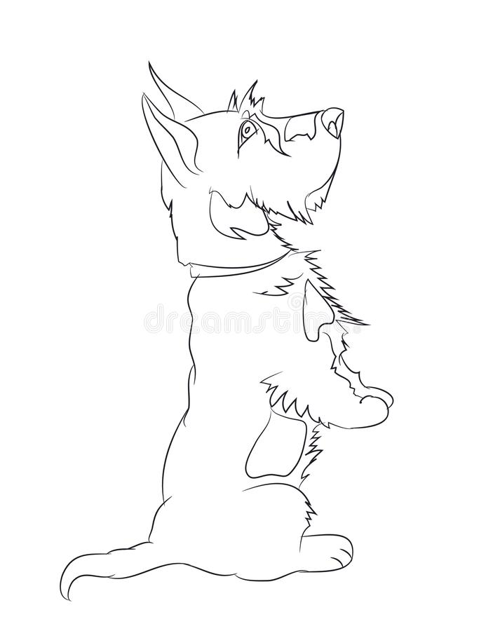 Собака спрашивая, линии, вектор иллюстрация штока