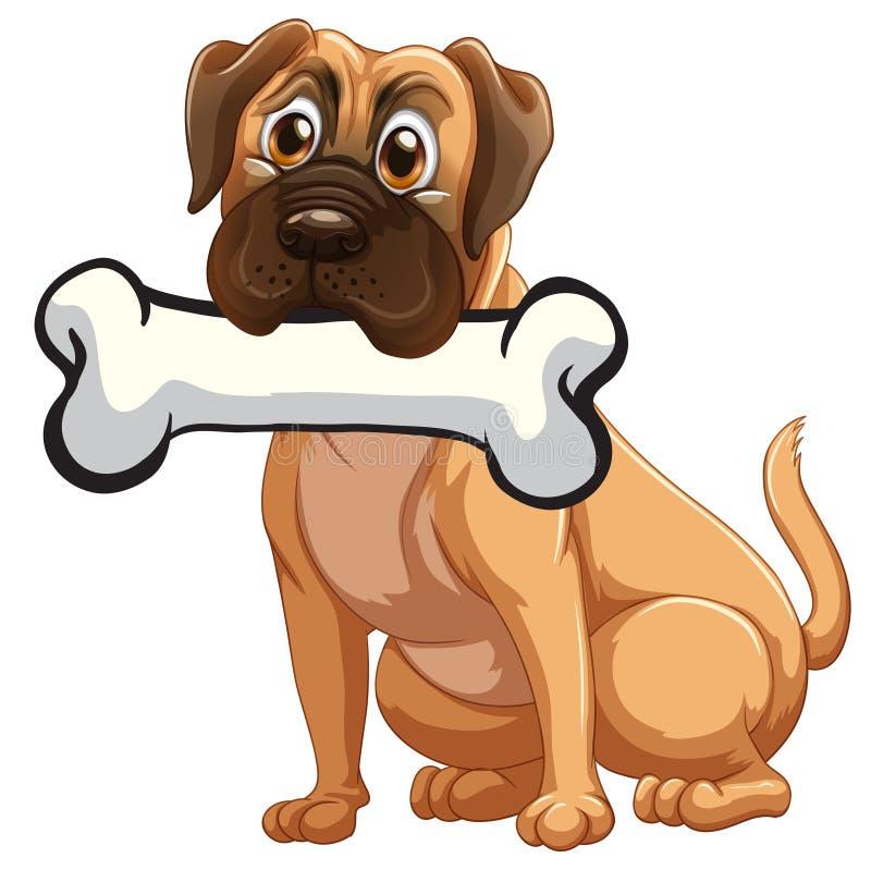 Собака с косточкой иллюстрация вектора