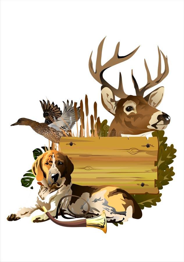 Собака с трофеями бесплатная иллюстрация