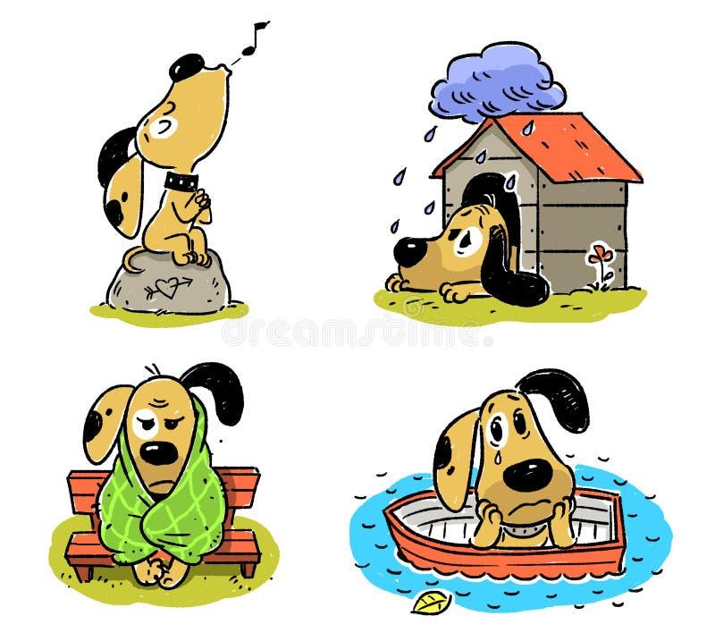 Собака, тоскливость, тоска, огорченная, несоосность иллюстрация штока