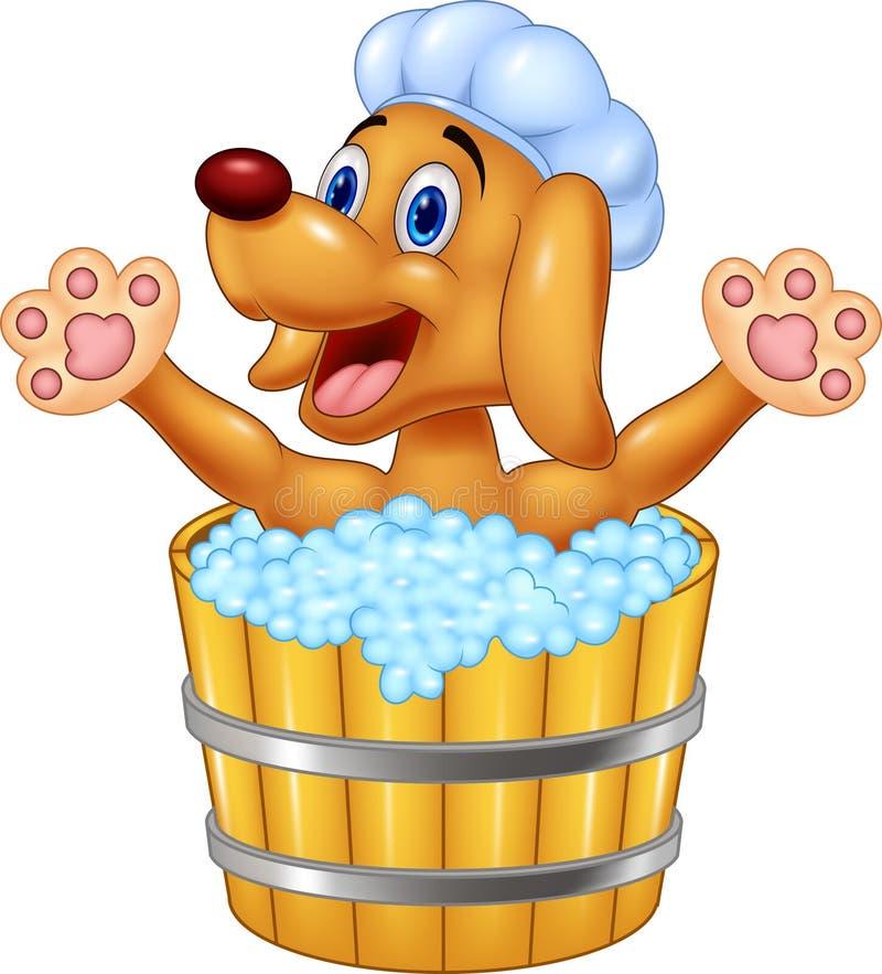 Собака шаржа купая развевая руку иллюстрация вектора