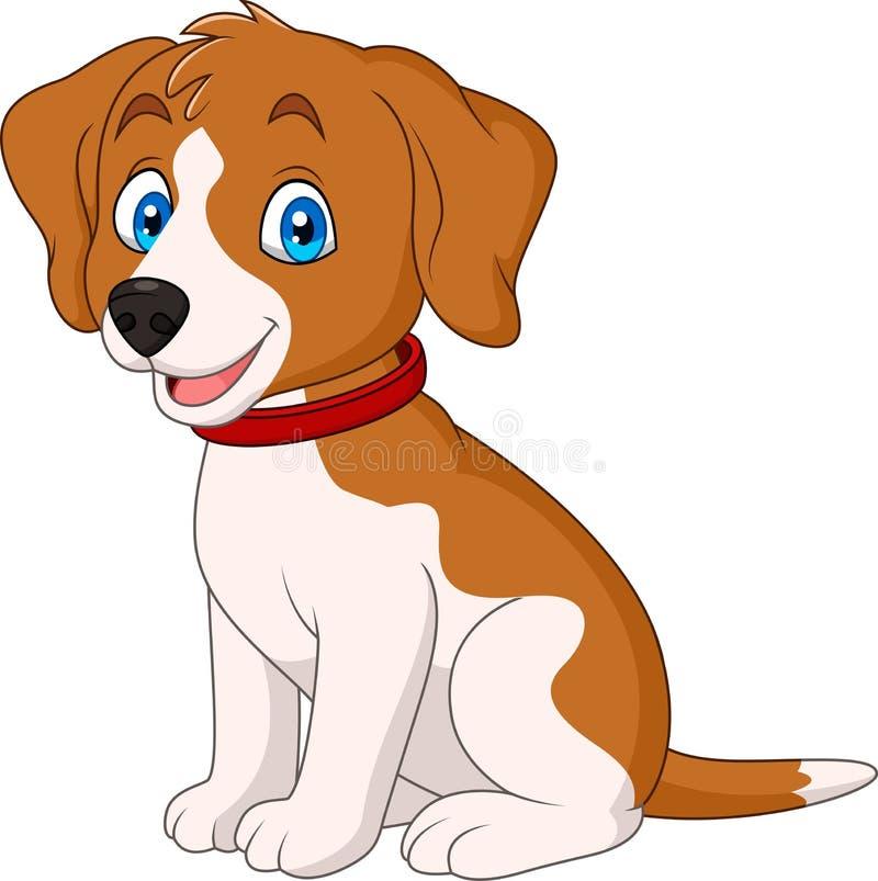 Собака шаржа милая нося красный воротник бесплатная иллюстрация