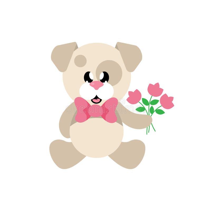 Собака шаржа милая сидя с связью и цветками иллюстрация вектора
