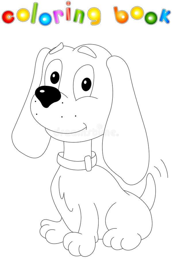 собака шаржа смешная Книжка-раскраска для детей иллюстрация вектора