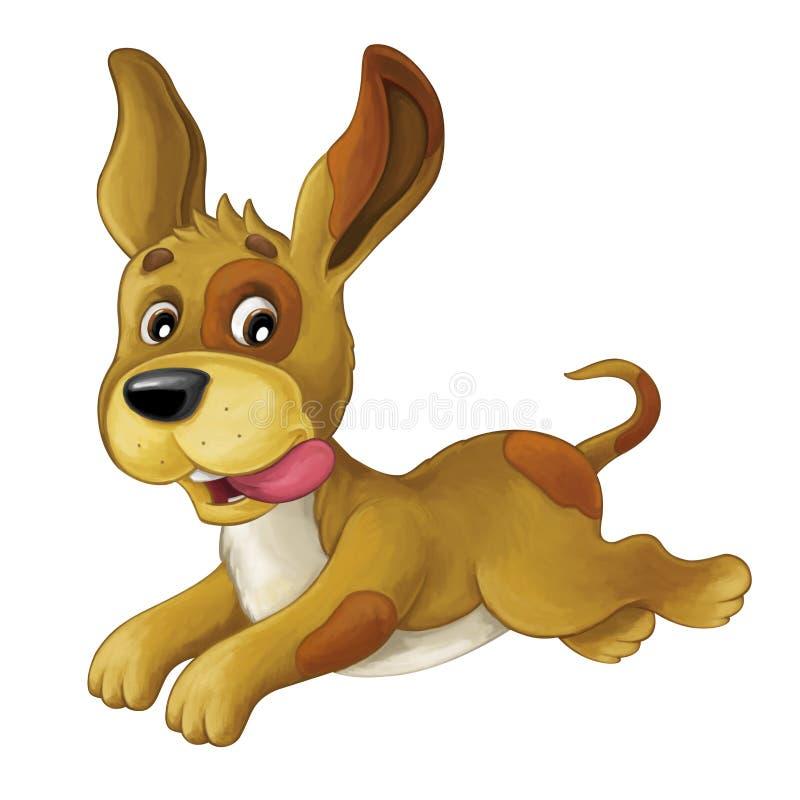 Собака шаржа счастливая скачущ и смотрящ - художественный стиль - изолирована бесплатная иллюстрация