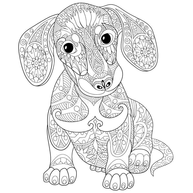 Собака щенка таксы Zentangle стилизованная бесплатная иллюстрация